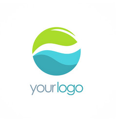 water eco round logo vector image