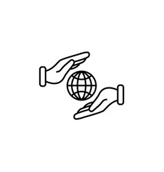 web line icon globe in hands black on white vector image