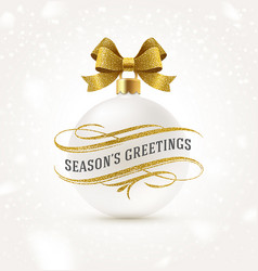 white christmas bauble with golden bow ribbon vector image