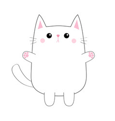 white cute sad cat baby kitten pink paw print vector image