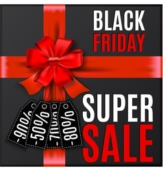 Black friday background with red bow and ribbons vector image