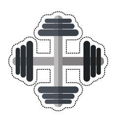 cartoon barbell fitness sport icon vector image