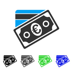 euro money credit card flat icon vector image