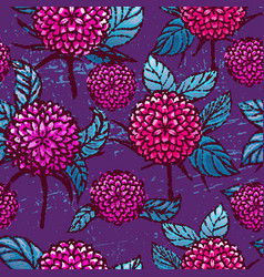 ink hand drawn chrysanthemums seamless pattern vector image vector image