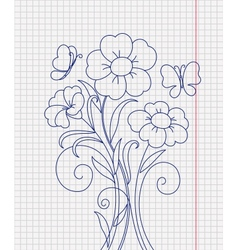 Kidstyle flower sketch on the paper sheet vector image