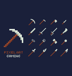 set of pixel art tools icons axe pick vector image