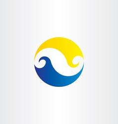 summer water wave sun circle logo icon sign vector image