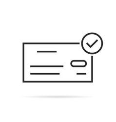 thin line bank check icon like salary vector image