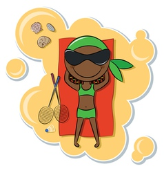 African-American girl on the beach vector image vector image