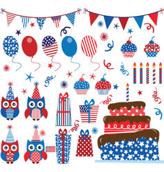Fourth of July Patriotic Owls party set vector image