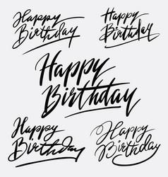 happy birthday hand written typography vector image