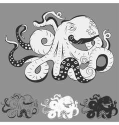 Octopus with curling tentacles vector image