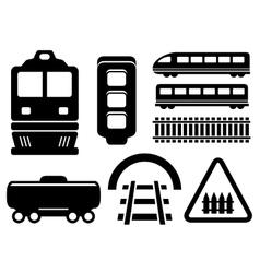 rail road icons set vector image vector image