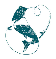 silhouettes with fish for fishing vector image vector image