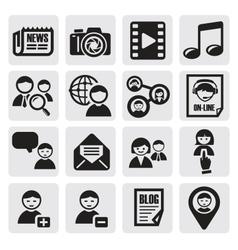 social network set vector image