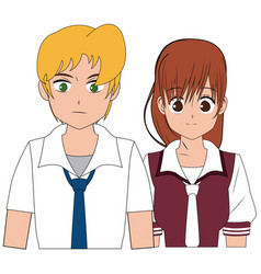 anime boy and girl student with uniform image vector image vector image