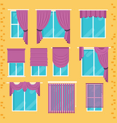 collection of various window treatments curtains vector image vector image