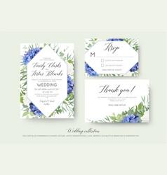 Wedding floral invite rsvp thank you card set vector