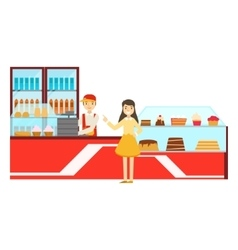 Woman Ordering At The Counter Smiling Person vector image