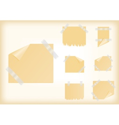 Yellow stickers with scotch tape vector image vector image