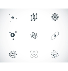 black atom icons set vector image vector image