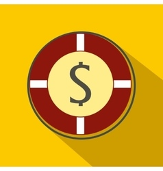 Casino chip icon flat style vector image vector image