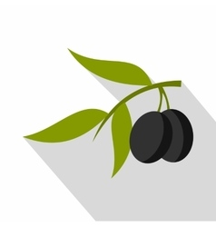 Fresh olive tree branch with olives icon vector image vector image
