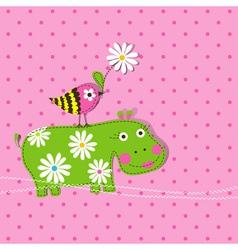 hippo scrapbook card template vector image vector image