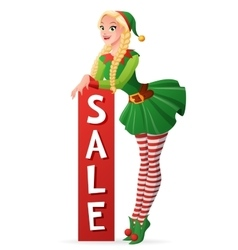 Pretty girl in Christmas elf costume sale banner vector image