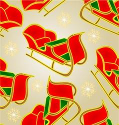 Seamless texture Santa sleigh and snowflakes vector image vector image