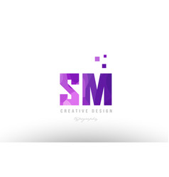 sm s m pink alphabet letter logo combination with vector image