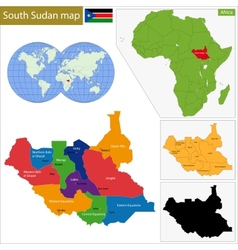 South Sudan map vector image vector image