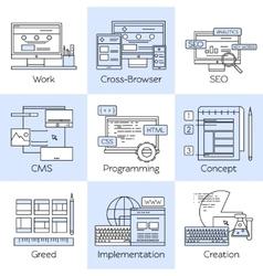 Web Design Line White Icon Set vector image