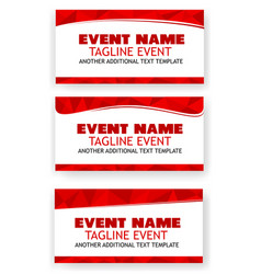 3 variant template triangle red at white banner vector