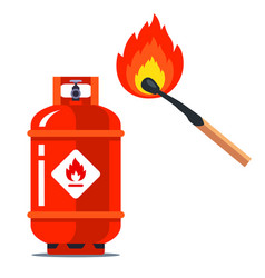 A red gas can next to a burning match flammable vector