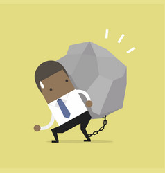 african businessman carrying a big rock vector image