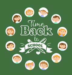 Back to school lettering girls and boys pupils vector