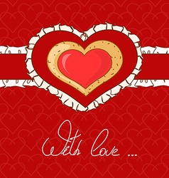 Background with cartoon heart vector image