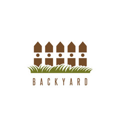 Backyard design template with fence and grass vector