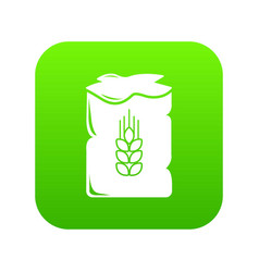 bag wheat icon green vector image