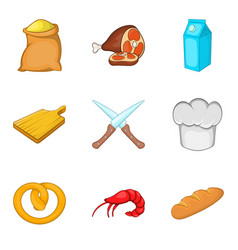 Baker icons set cartoon style vector