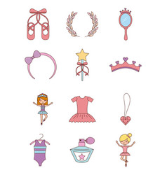 Ballet set of dancer things girl ballet dress vector