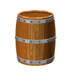 barrel wooden with metal stripes for alcohol vector image