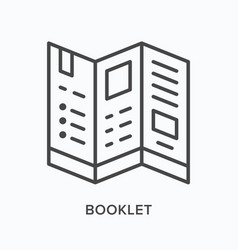 Brochure flat line icon outline vector