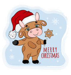 bull 2021 with christmas gingerbread vector image