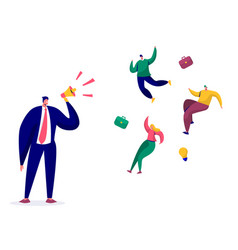 businessman scream loudspeaker alarm to staff vector image