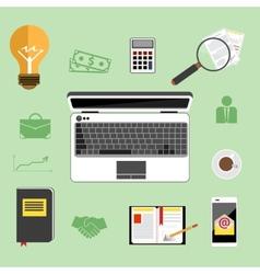 Businessman work desk flat concept vector