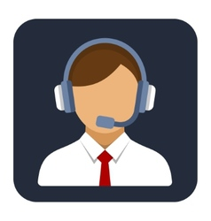Call Center Operator or Manager with Headset Flat vector image