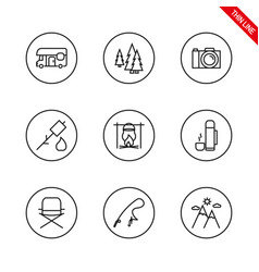 Camping universal icons set thin line vector