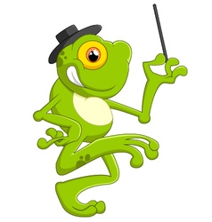Cartoon frog holding magic wand vector